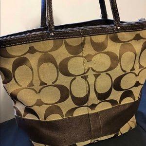 LIKE NEW COACH Brown Khaki Signature Tote Hand Bag